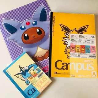 🚚 BN Pokemon Center Eevee Bundle- File and Campus notebooks