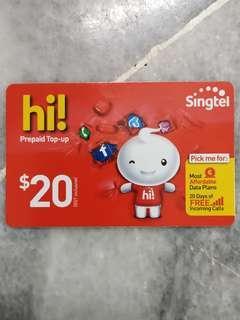Singtel hi! Prepaid Top-up $20