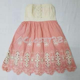 Pink & beige tube dress