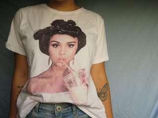 Oversized Selena Gomez shirt