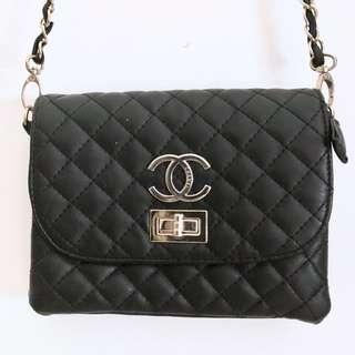 CHANEL SMALL BLACK QUILTED CROSSBODY BAG