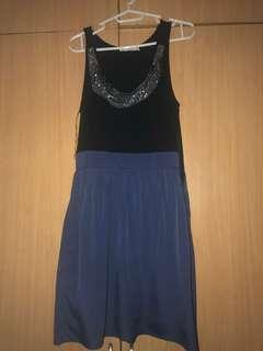 Lush Black and Blue Dress with sequence neckline