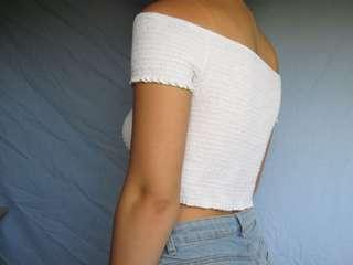 White off the shoulder wrap
