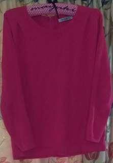 桃紅色氣質薄毛衣(約8成新 F)