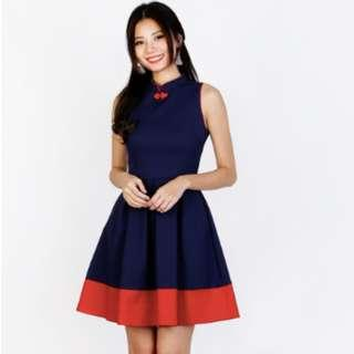 MGPLABEL LUNAR COLOURBLOCK CHEONGSAM IN NAVY