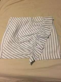 Subtitled black and white pinstripe skirt