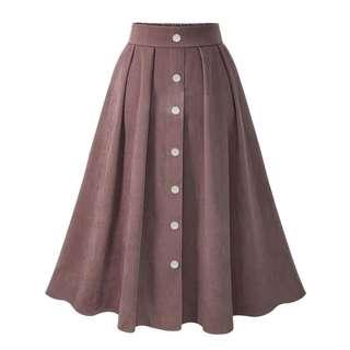 Brown midi button down skirt