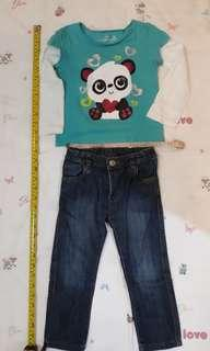 3T Toddler girl outfit - Mothercare pants and Jumping Beans top