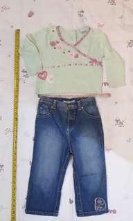 2T Toddler girl outfit - Guess denim pants and Cherokee top