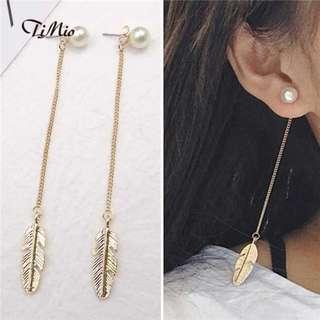 Pearl feather dangle earrings