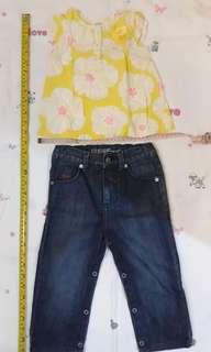 2T Toddler girl outfit - Guess denim pants and Carter's top