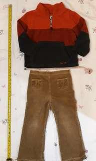 4T Toddler girl outfit  - The Children's Place fleece jacket and corduroy pants