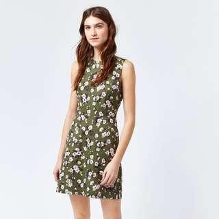 WAREHOUSE Green Floral Tea Dress