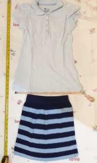 Girl outfit - Old Navy polo shirt and knitted skirt