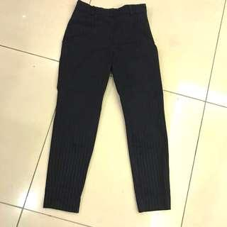 H&M Pinstriped Black Tapered Pants