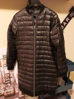 Zara Long Black Bomber Style Puffer Coat