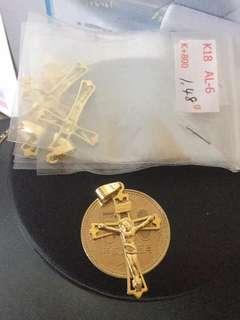 Japan Gold K18 Cross Pendant