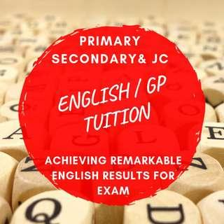 English Literature GP Tuition |  Looking for English Private Tutor | Primary  Secondary A level English Home Tuition | JC1 School General Paper Tuition Teacher | English Literature | History | PSLE N O A Level School | Adult | Full Time Tutor | AEIS