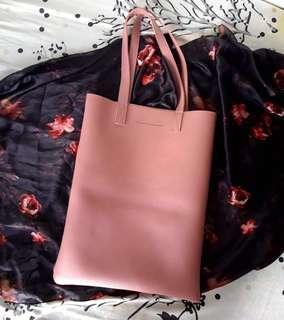 Synthetic Leather Bag in Old Rose