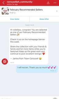 THANK YOU SO MUCH  Carousell!💕✨