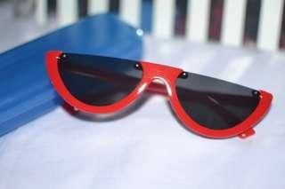 Melon Half Frame Cat Eye Retro sunglasses shades Black and Red