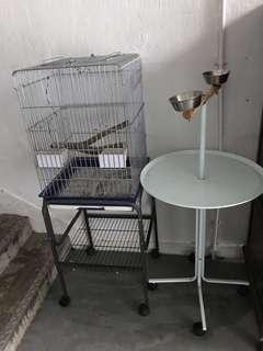 Stainless steel parrot cage and parrot stand