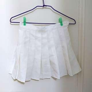白色 百摺裙 百褶裙 短裙 白