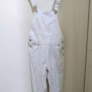 🚚 白色 全白 吊帶褲 吊帶 長褲