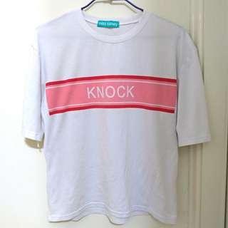 🚚 寬鬆 落肩 字母 粉紅 短T 短袖 T恤 Knock
