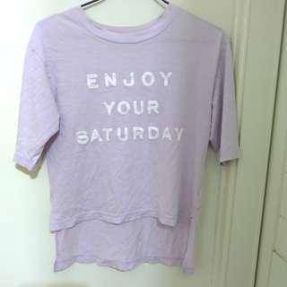 🚚 Net 紫色 字母 短袖 T恤 短T 五分袖 寬鬆 落肩 前短後長 淺紫 淡紫 粉紫