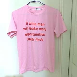 🚚 粉紅 字母 短袖 T 上衣 原宿