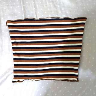 🚚 條紋 平口 背心 小可愛 荷葉邊 裹胸 短版 咖啡色