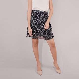 Black floral wrap around skirt
