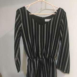 TTR Black And White Striped Patterned Long Sleeve Romper