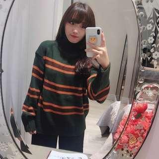 🚚 現貨🦊高領綠條紋撞色毛衣