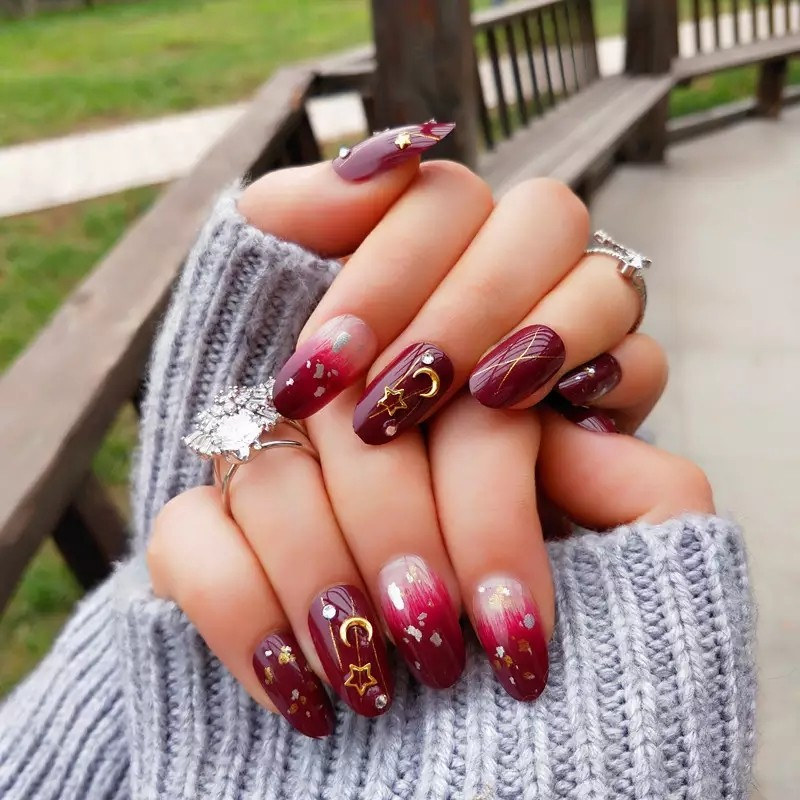 24pcs Punk False Nails Full Cover Artificial Full Diamond Design Fake Nails Press On Nail Tips Short Nail Art Tip Wine Red!, Health & Beauty, Hand & Foot Care on Carousell