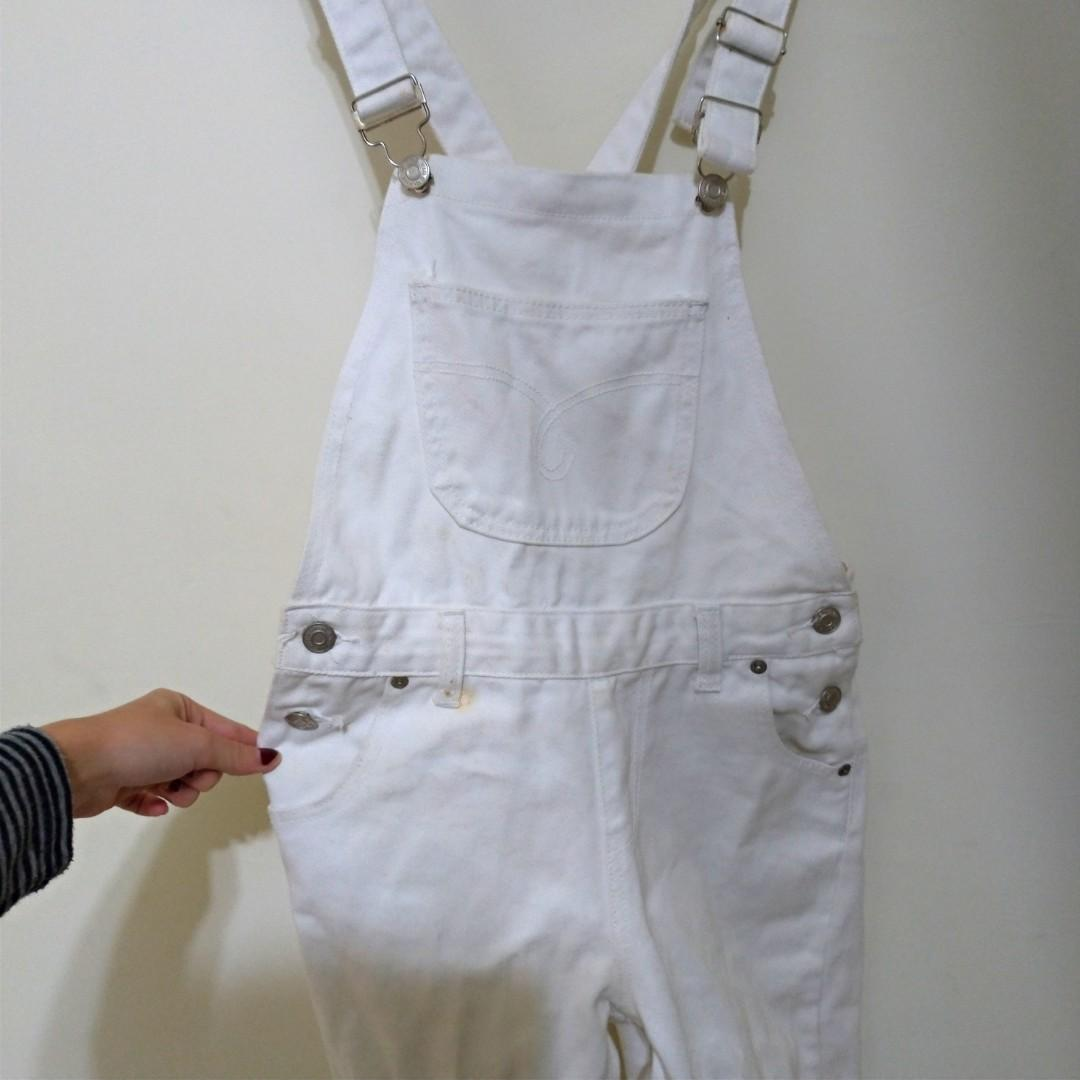 白色 全白 吊帶褲 吊帶 長褲
