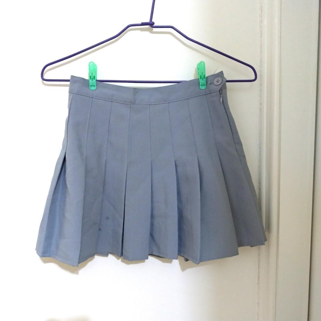 灰色 百摺裙 百褶裙 短裙 安全褲 灰