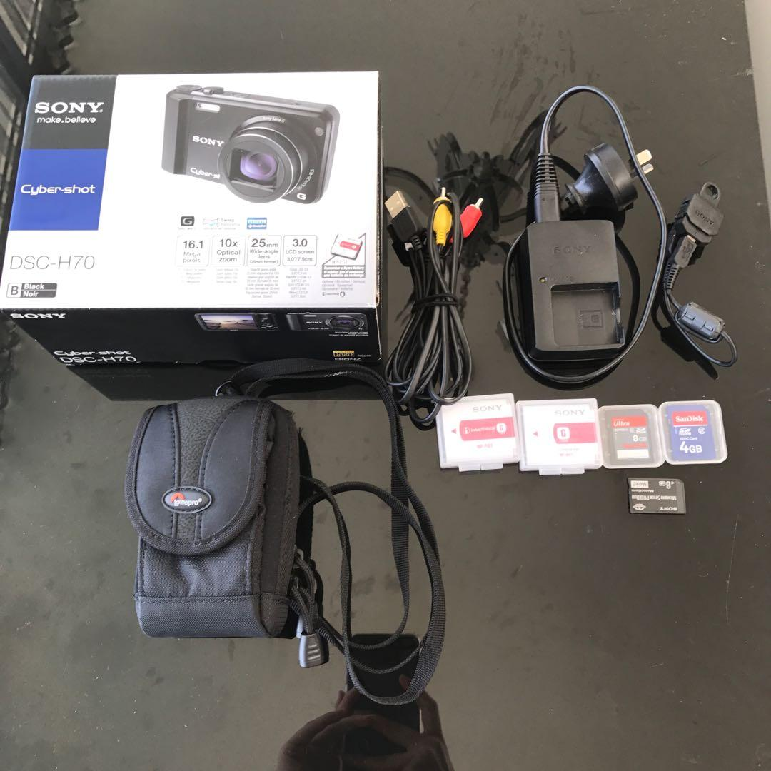 Black Sony Cyber-shot DSC-H70 With Accessories In Box