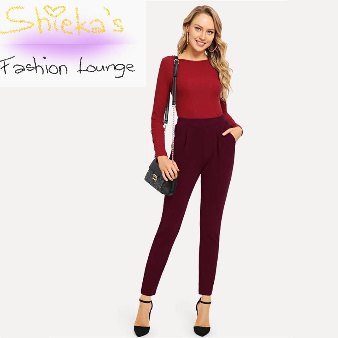 Burgundy High Waist Pencil Pants Trousers with Pockets