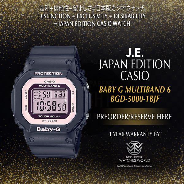 CASIO JAPAN EDITION BABY G TOUGH SOLAR MULTIBAND 6 BLACK BGD-5000 ... c8f8b1705f