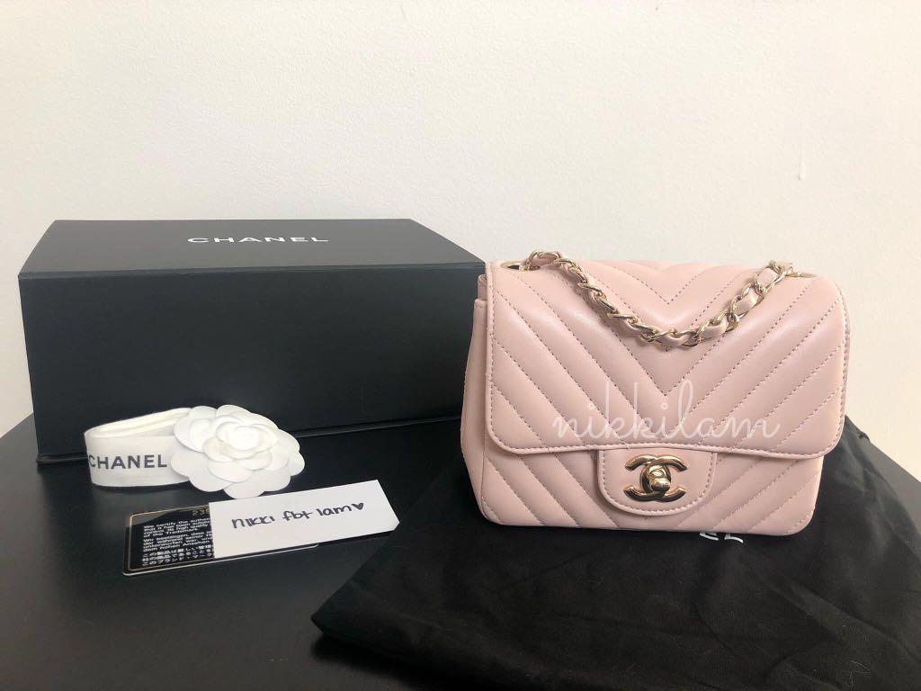 40f88140 Chanel 17c Light Pink Mini Square Lambskin GHW, Women's Fashion ...