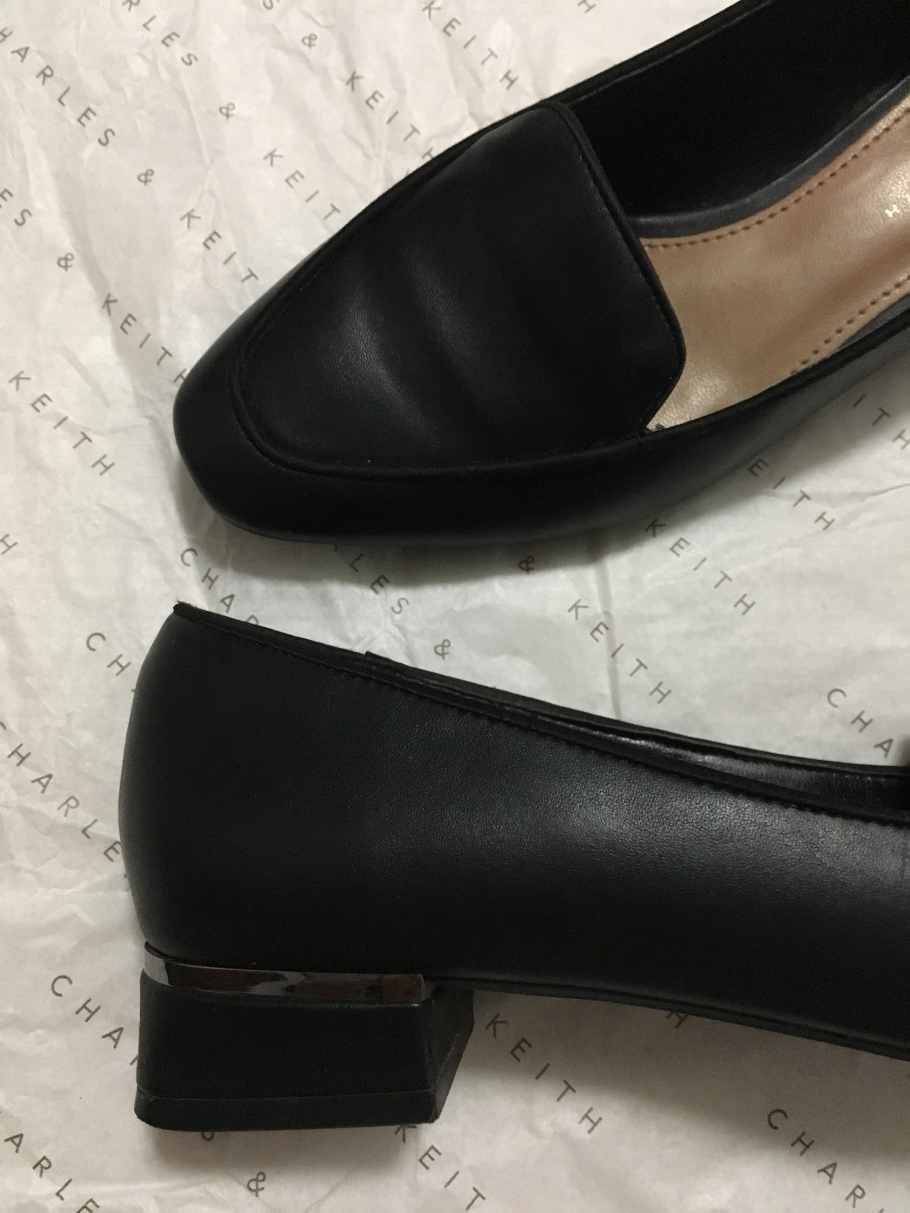 a5f8489bf4ede Charles & Keith black basic loafers with metallic low block heels, Women's  Fashion, Shoes on Carousell