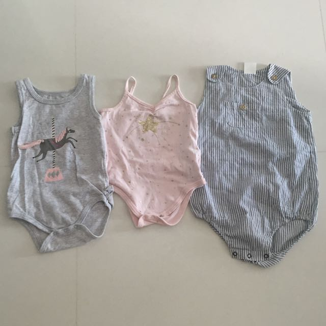 One-pieces Seed Baby Denim Ruffle Romper Size 0-3 Months