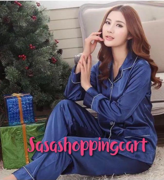 Couples pajamas spring and summer long sleeves Korean women silk sexy two suit