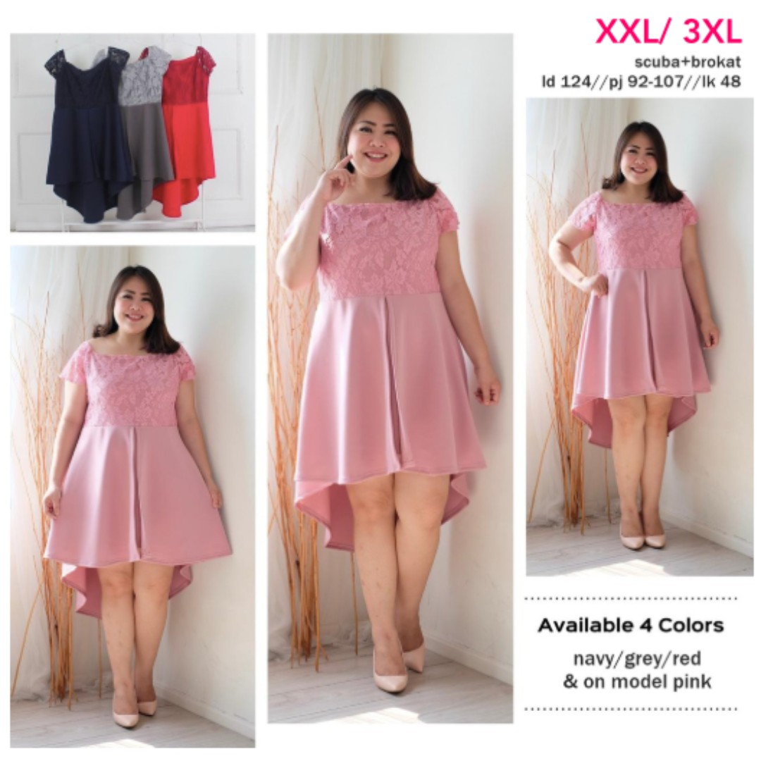 Dress Layer Bigsize Xxl Xxxl Dress Layer Brokat Jumbo Dress Pesta