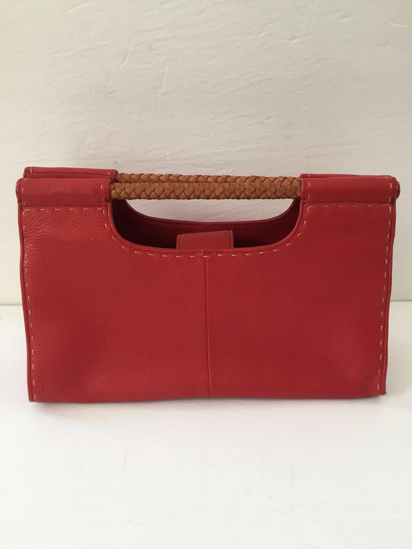 Fossil Vintage Leather Clutch with Beautiful Wooden Woven Handles