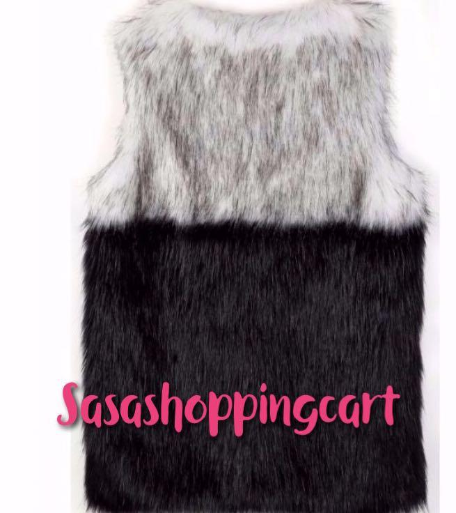Fur Shaggy Vest Sleeveless Coat Outerwear Jacket Waistcoat Splicing Gilet