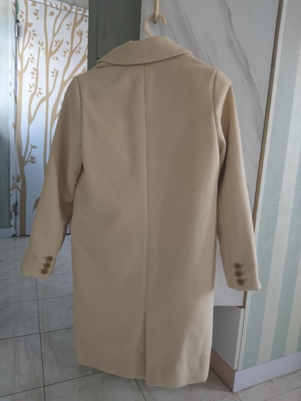 日本Glacier 米黄淺卡其色毛呢中長反領外套大褸 Coat