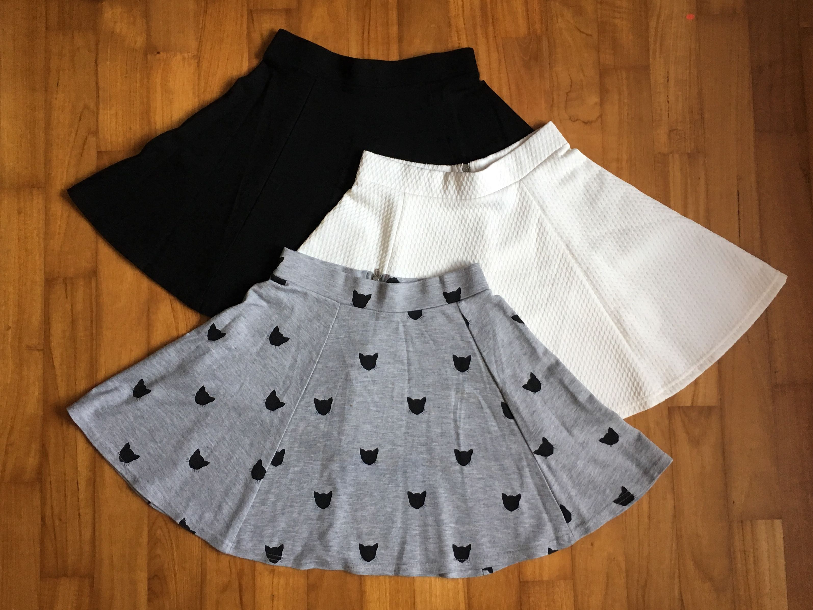 135a893c7f H&M skater skirts: 3 for $15 (cat-print, white, black), Women's Fashion,  Clothes, Dresses & Skirts on Carousell